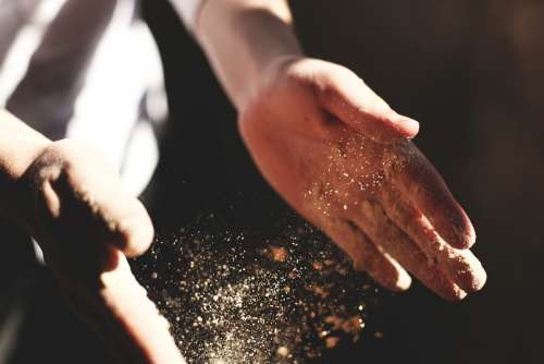 Hands Clapping Dust Flour Bakery Craftsman