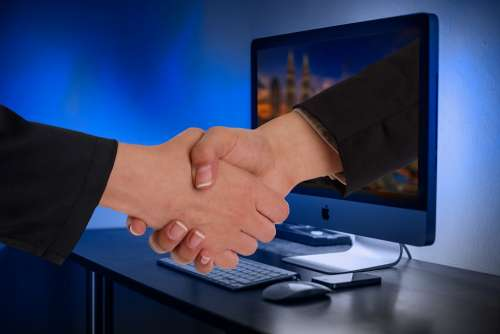 Handshake Hands Monitor Online Partner Businessmen