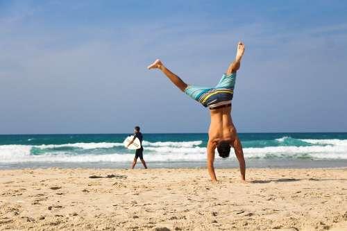 Handstand Beach Sea Ocean Sand Exercise Young