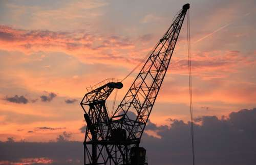 Harbour Crane Sunset Sky Clouds Industry Port