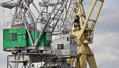 Harbour Cranes Sky Clouds Industry Port Cranes