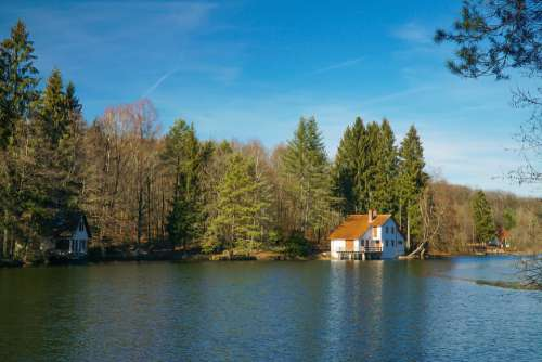 Haus Am See Romantic Landscape House Water Nature