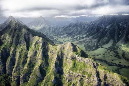 Hawaii Mountains Valley Ravine Gorge Tropics