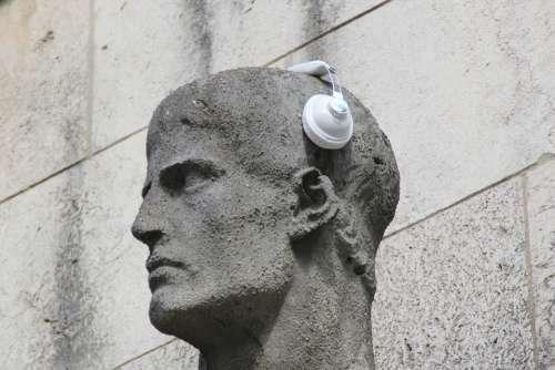 Headphones Statue Sculpture Ear Listen Listen To