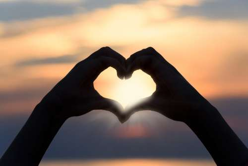 Heart Love Sunset Shape Sign Silhouette Symbol