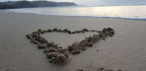 Heart Sand Love Sunset