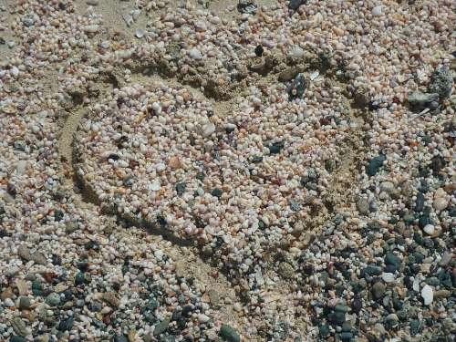 Heart Sand Pebble Love