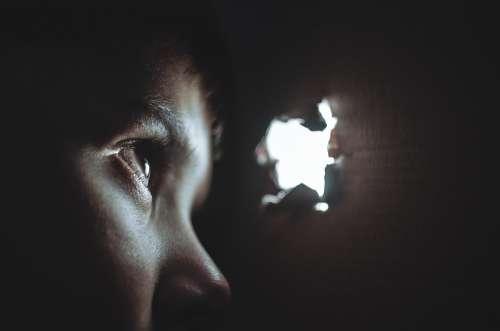 Hiding Boy Girl Child Young Box Hole Torn Eye