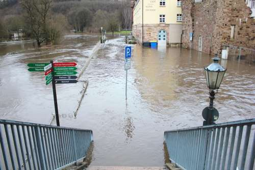 High Water Hann Münden City Truss Lower Saxony