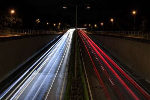 Highway Augsburg Road Lights Traffic Long Exposure