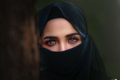 Hijab Headscarf Portrait Veil Woman Eye Girl