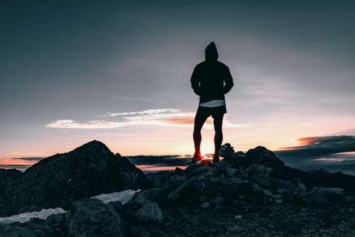 Hiker Hiking Sunrise Outdoor Sky Explore