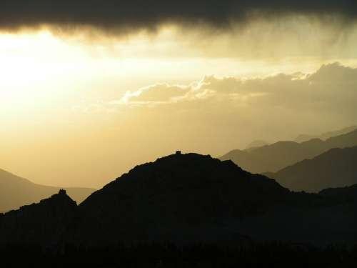 Himalaya Sunset Mountain Clouds Landscape Rays