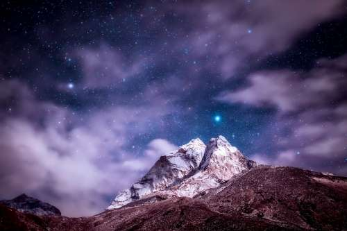 Himalayas Mountains Sky Clouds Stars Night Sunset