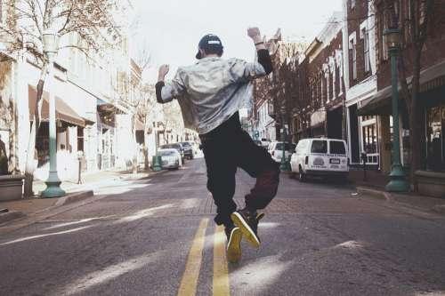 Hip Hop Dancer Silhouette Man Male Unicycle Jump
