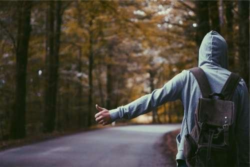 Hitchhiker Thumb Hoodie Backpack Knapsack Guy Man
