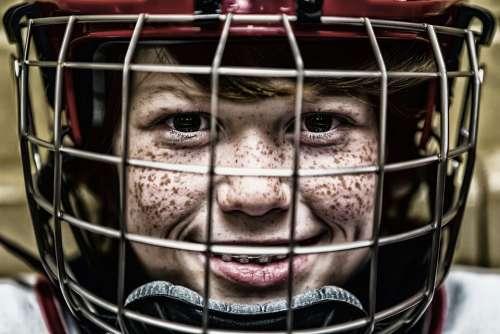 Hockey Helmet Face Sport Portrait Grid Visor