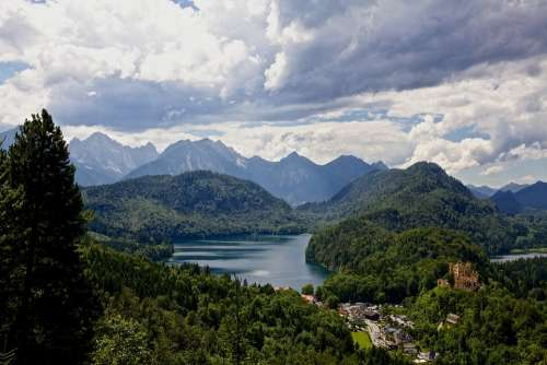 Hohenschwangau Alps Alpsee Bavaria Cloudscape