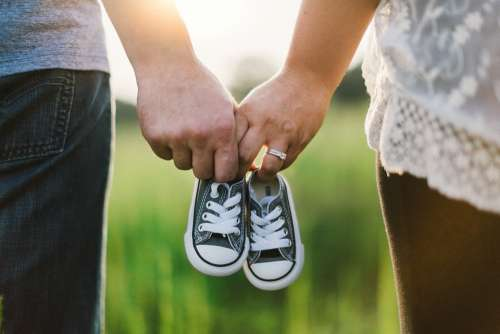 Holding Hands Shoes Little Baby Couple Family