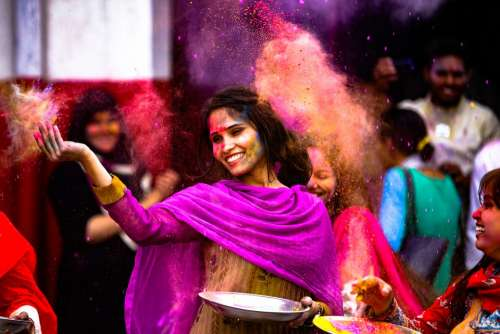Holi Girl Indian India Dance Fun Paint Festival