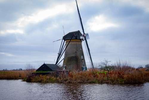 Holland Kinderdijk Landscape Netherlands