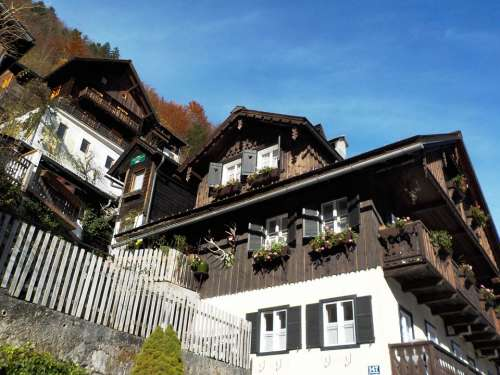 Houses Slope Landscape Mountain Hallstatt Austria