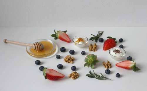 Honey Strawberry Food Healthy Breakfast Fresh