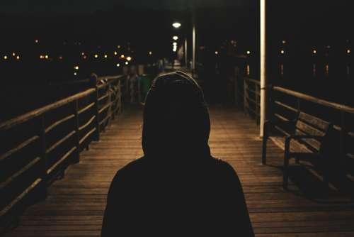Hoodie Sweater Dark Night Evening Shadows People