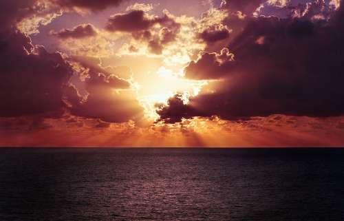 Horizon Sky Sunset Ocean Water Sea Beach Orange