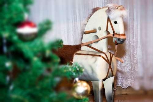 Horse Rocking Horse Wood Seahorses Play Christmas