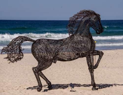 Horse Sculpture Art Black Large Metal