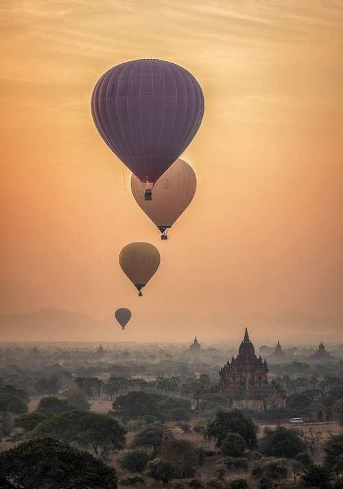 Hot Air Ballon Burma Myanmar Temples Ancient