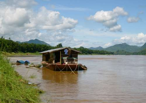 House River Nature Cambodia Clouds Mountains