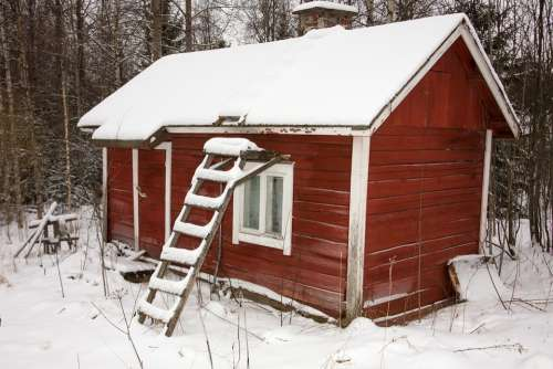 House Building Wooden House Snowy