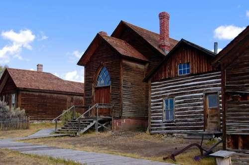 Houses And Bannack Methodist Church Montana Bannack