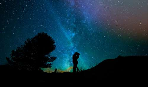 Human Lovers Night Sky Starry Sky Pair Star