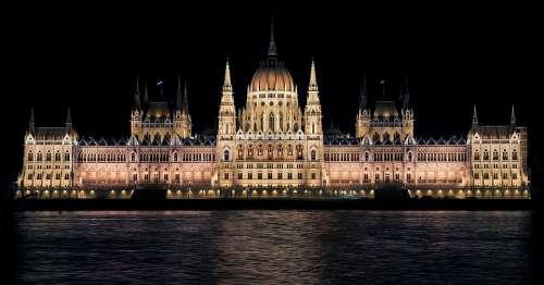 Hungarian Parliament Night Budapest Hungary