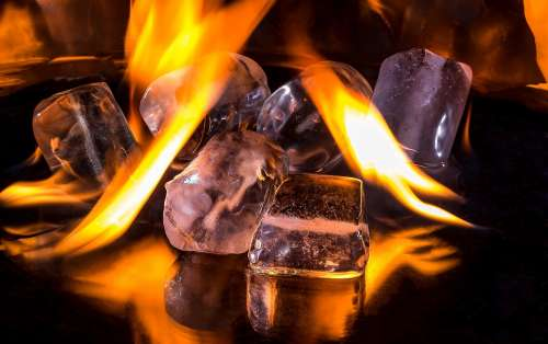Ice Cubes Fire Flame Burn Hot Ice Cold Melt