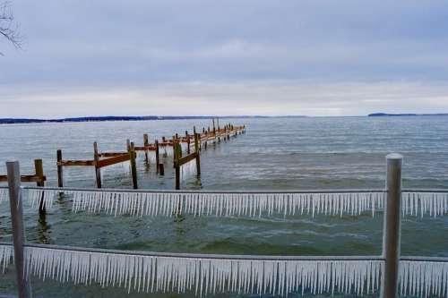 Ice Sculpture Winter Solstice Winter Shore Dock