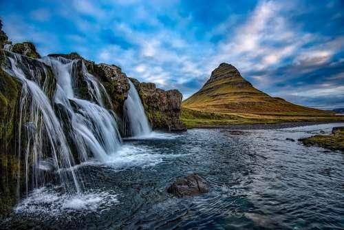 Iceland Mountains Kirkjufell Waterfall Falls