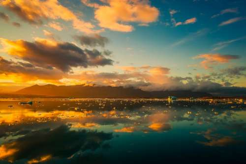 Iceland Sky Clouds Beautiful Sunrise Sunset Lake