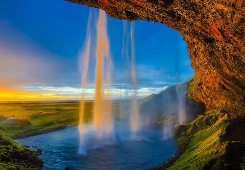 Iceland Skogafoss Waterfall Falls Cascade Pool