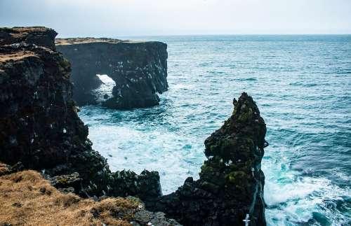 Iceland Hellissandur Coast Bank Surf Rock Cold