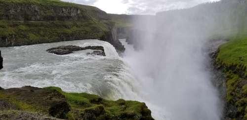 Iceland Waterfall Landscape Water Rock Hills