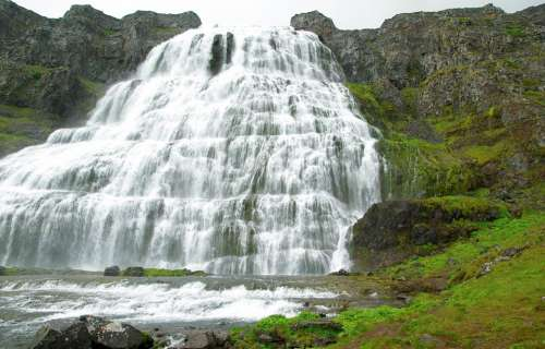 Iceland Dynjandi Cascade Waterfall River