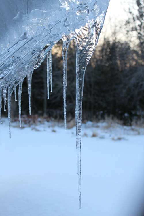 Icicles Winter Cold Roof Blue Transparent Ice