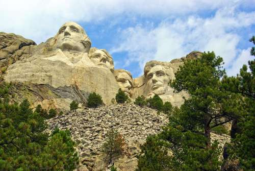 Iconic Rushmore Faces Lincoln Washington Usa