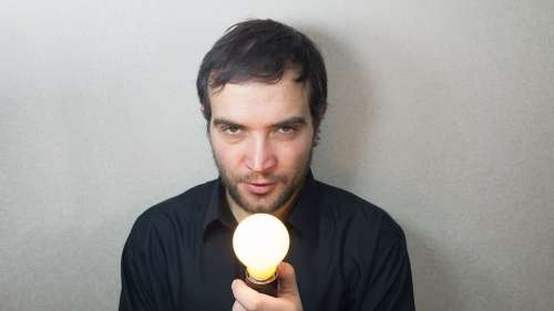 Idea Concept Lightbulb Bright Burns Man Beautiful