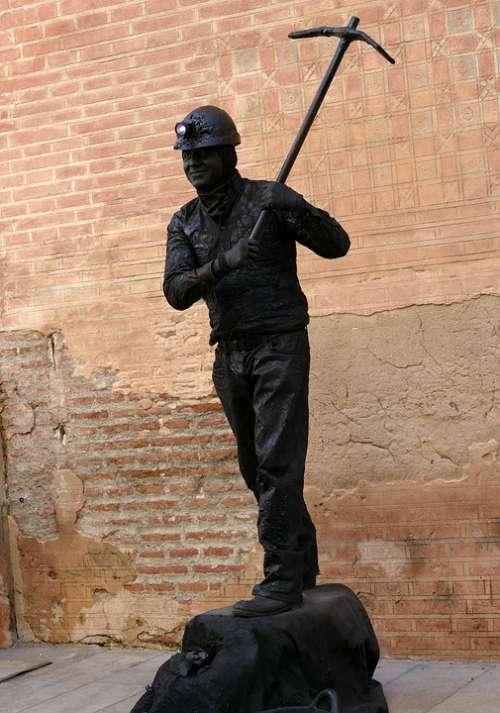 Image Statue Alive Miner Coal Black Pickaxe