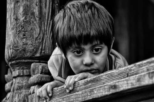 Indian Kid Child Black And White Eyes Hairs